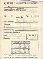 ABBONAMENTO STEFER 1976 Piega (BY1768 - Week-en Maandabonnementen