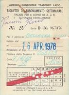 ABBONAMENTO LAZIO 1978  Piega (BY1769 - Week-en Maandabonnementen
