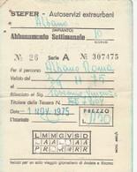 ABBONAMENTO STEFER 1975 Piega (BY1770 - Week-en Maandabonnementen