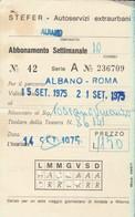 ABBONAMENTO STEFER 1975 Piega (BY1772 - Week-en Maandabonnementen