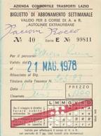 ABBONAMENTO LAZIO 1978  Piega (BY1775 - Week-en Maandabonnementen