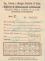 ABBONAMENTO TRAMVIE FERROVIE ELETTRICHE ROMA 1975 (BY1780 - Week-en Maandabonnementen
