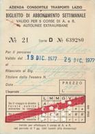 ABBONAMENTO LAZIO 1977   (BY1782 - Week-en Maandabonnementen