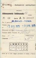 ABBONAMENTO STEFER 1975 Piega (BY1785 - Week-en Maandabonnementen