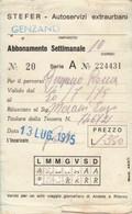 ABBONAMENTO STEFER 1975 Piega (BY1787 - Week-en Maandabonnementen