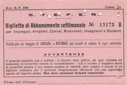 ABBONAMENTO STEFER 1975  (BY1788 - Week-en Maandabonnementen