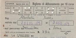 ABBONAMENTO STEFER 1975 Piega Centrale (BY1791 - Week-en Maandabonnementen