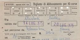 ABBONAMENTO STEFER 1975 Piega Centrale (BY1792 - Week-en Maandabonnementen
