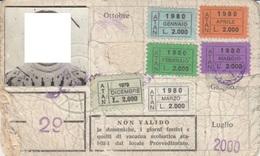 ABBONAMENTO SCOLASTICO NAPOLI ATAN 1980 (foto Coperta Per Privacy Anche Se Di 40 Anni Fa) (cattivo Stato) (BY1793 - Week-en Maandabonnementen