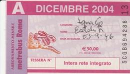 ABBONAMENTO ATAC DICEMBRE 2004 (BY1808 - Week-en Maandabonnementen