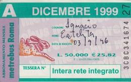 ABBONAMENTO ATAC DICEMBRE 1999 (BY1809 - Week-en Maandabonnementen