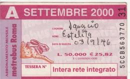 ABBONAMENTO ATAC SETTEMBRE 2000 (BY1810 - Week-en Maandabonnementen