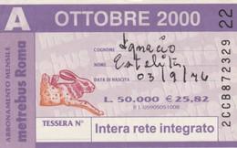 ABBONAMENTO ATAC OTTOBRE 2000 (BY1811 - Week-en Maandabonnementen
