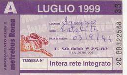 ABBONAMENTO ATAC LUGLIO 1999 (BY1812 - Week-en Maandabonnementen