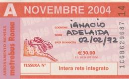 ABBONAMENTO ATAC NOVEMBRE 2004 (BY1813 - Week-en Maandabonnementen