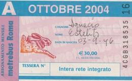 ABBONAMENTO ATAC OTTOBRE 2004 (BY1814 - Week-en Maandabonnementen