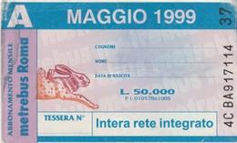 ABBONAMENTO ATAC MAGGIO 1999 -non Perfetto (BY1815 - Week-en Maandabonnementen