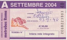ABBONAMENTO ATAC SETTEMBRE 2004 (BY1816 - Week-en Maandabonnementen