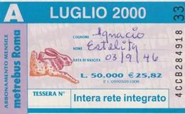 ABBONAMENTO ATAC LUGLIO 2000 (BY1817 - Week-en Maandabonnementen