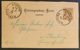 Kaiserreich 1889, Postkarte 2K (Antwort), MARBURG BAHNHOF - Slowenien