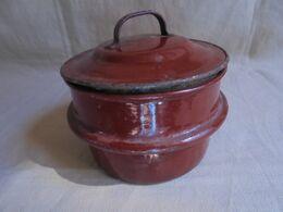 Ancien - Petit Pot Avec Couvercle - Haut De Gamelle En Tôle émaillée - Andere Sammlungen