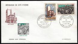 Ivory Coast Abidjan 1968 / FDC / Industry / Soluble Coffee, Cocoa Butter - Fabriken Und Industrien