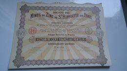 MINES DE ZINC DE SAINT HIPPOLYTE DU FORT (100 Francs) 1927 - Non Classés
