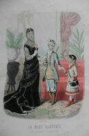 Gravure De Mode Originale La Mode Illustrée 1881 Robe Bal Noire Et Voilette Et Enfants Déguisés - Grand Format - Estampes & Gravures