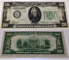 """USA United States Of America - 20 Dollars 1934 About UNC  (folded) """"G"""" Chicago - Biljetten Van De  Federal Reserve (1928-...)"""