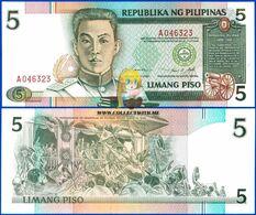 Philippines 5 Piso 1995 UNC One-letter Prefix P-180 - Filippine