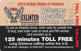 2015 USA Veterans Hospital Phone Card - 125 Minutes Toll Free - Army
