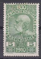 Austria 1910 Jubilee Mi#164 Mint Hinged - Unused Stamps