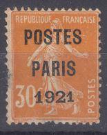 France Postes Paris 1921 Yvert#29 Avec Gomme - 1893-1947