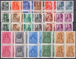 Hungary 1943 Mi#705-721 Mint Never Hinged Fours - Neufs