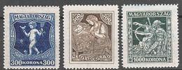 Hungary 1924 Mi#380-382 Mint Never Hinged - Neufs