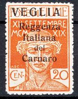 Fiume 1920 Carnaro Islands-Veglia, Krk Sassone#3 Mi#30 I, Big Letter Overprint, Caratteri Grande, Hinged, Exprt Mark - Arbe & Veglia