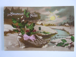 Maretak Gui Hulst Houx Sabot Klomp Heureux Noël Gelopen 1919 Dendermonde Edit LUX 143 - Flores, Plantas & Arboles