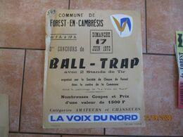 FOREST EN CAMBRESIS LE 17 JUIN 1973 3me CONCOURS DE BALL-TRAP ORGANISE PAR LA SOCIETE DE CHASSE DE FOREST EN CAMBRESIS - Plakate