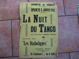 """FOREST LE 8 JANVIER 1956 LA NUIT DU TANGO DES CLASSES 1955-1956 ANIMEE PAR """"LES DIABOLIQUES"""" 60cm/40cm - Plakate"""