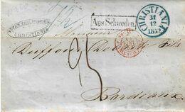 Lettre De CHRISTIANA (Suède) 1852 Entrée PRUSSE Par VALENCIENNES - 3 Scans - 1801-1848: Vorläufer XIX