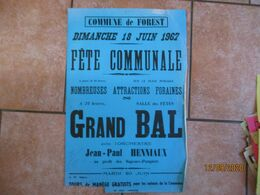 FOREST LE 18 JUIN 1967 FÊTE COMMUNALE ATTRACTIONS FORAINES GRAND BAL AVEC L'ORCHESTRE JEAN-PAUL HENNIAUX 60cm/40cm - Plakate