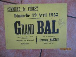 FOREST LE 19 AVRIL 1953 GRAND BAL ORGANISE PAR LA CLASSE 1954 AVEC LE CONCOURS DE L'ORCHESTRE MARCEAU  30cm/42cm - Plakate