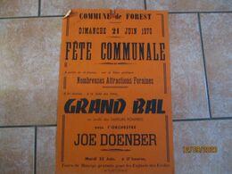 FOREST LE 21 JUIN 1970 FÊTE COMMUNALE GRAND BAL AU PROFIT DES SAPEURS POMPIERS AVEC L'ORCHESTRE JOE DOENBER   60cm/40cm - Plakate