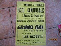 FOREST LE 11 OCTOB 1970 FÊTE COMMUNALE GRAND BAL  AVEC L'ORCHESTRE LES REGENTS AU PROFIT DU COLIS DE NOËL DE   60cm/40cm - Plakate