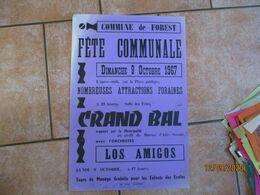 FOREST LE 8 OCTOBRE 1970 FÊTE COMMUNALE GRAND BAL  AVEC L'ORCHESTRE LOS AMIGOS    60cm/40cm - Plakate