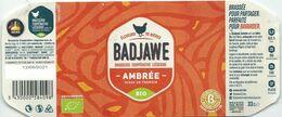 étiquette Décollée Bière Badjawe Ambrée Brasserie Coopérative Liège - Beer