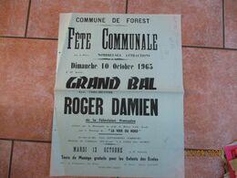 FOREST LE 10 OCTOBRE 1965 FÊTE COMMUNALE GRAND BAL AVEC L'ORCHESTRE ROGER DAMIEN DE LA TELEVISION FRANCAISE 65cm/50cm - Plakate