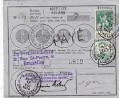 DDX 714 -- INVASION Allemande - Bon De Poste ROESELARE 13 Aout 1914 Avec TP Pellens, Dont Le 40 Centimes (RARE Sur Doc.) - Guerra 14 – 18
