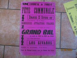 FOREST LE 13 OCTOBRE 1967 FÊTE COMMUNALE GRAND BAL AVEC L'ORCHESTRE LOS GIVAROS 60cm/40cm - Plakate