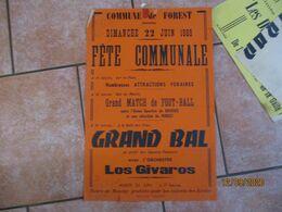 FOREST LE 22 JUIN 1969 FÊTE COMMUNALE GRAND MATCH DE FOOTBALL UNION SPORTIVE DE BOUSIES ET SELECTION DE FOREST GRAND BAL - Plakate